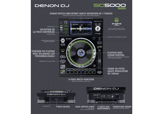 Audio - DJ - LECTEUR MEDIA DJ PRO - Denon DJ - DDE SC5000PRIME - Royez Musik
